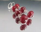 Dangling Faceted Ruby Earrings // Sterling Wrapped Ruby Earrings // Three Layer Ruby Earrings // Cascading Ruby Earrings // Pink Ruby