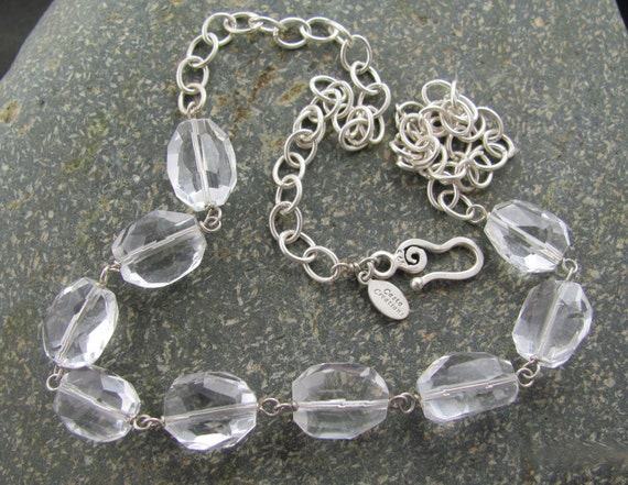 Rock Crystal Necklace // Sterling Silver Necklace // Sterling Silver Wire Wrapped Gemstone Necklace // Rock Crystal Nugget Necklace