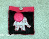 Pink and Brown Felt Elephant Pouch