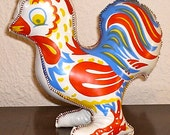 Vintage Stuffed Vinyl Chicken Rooster Toy Prize