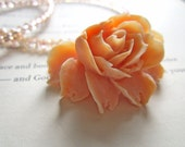 MAJOR Sale Peach Swarovksi Crystal and Rose Pendant Necklace Sterling Silver Heart Clasp