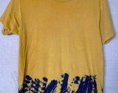 men's mustard and indigo feather tshirt