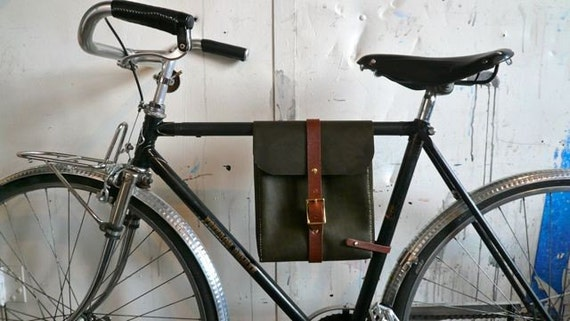 olive leather bicycle bag