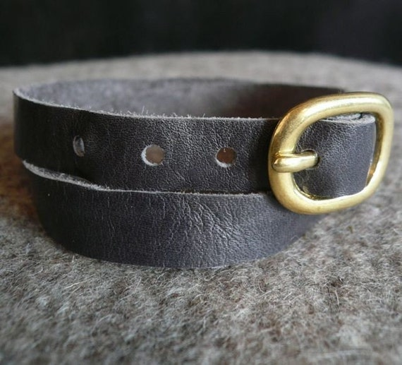 slate gray leather wrap cuff