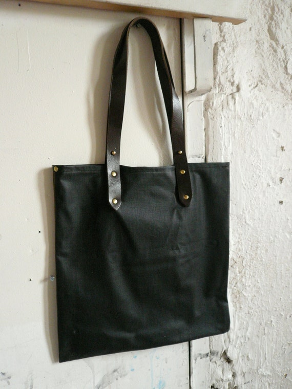 oil coated denim and leather tote