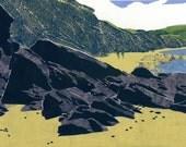 "Collograph Print - Mabou Coal Mines Beach (Revisited) -  Cape Breton Beach Print - Rocky East Coast Print 19x26"""