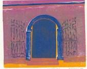 BLOCK PRINT - Mexican Doorway - Tropical Inspired Original Print