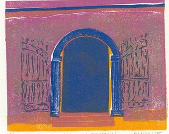 Block Print - MEXICAN DOORWAY - Tropical Architecture - 9x8 Print - Ready to Ship