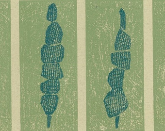 Collograph Print - TREES & COLUMNS - Abstract Landscape Print - Ready to Ship