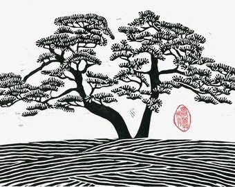 Japanese Style Linocut Print - DOUBLE PINE - Black and White Pine Tree Print 13x9