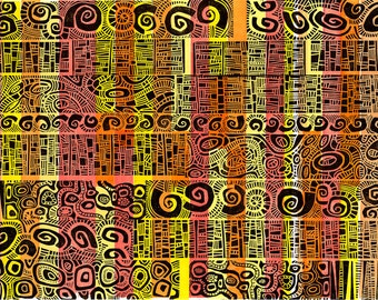 Monoprint - HUNDERTWASSER 4 - Modern Geometric Decor 19x26 - Ready to Ship