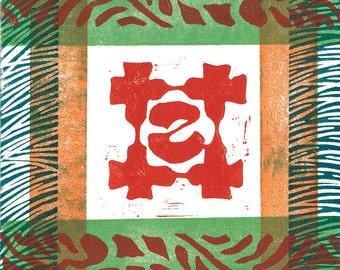 "LINOCUT RELIEF PRINT - Kabuki Crest 15 - Monoprint 6""x6"""