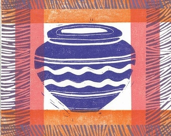 "RELIEF LINO PRINT - Africa Pot 1-  Monoprint One of a Kind 6""x6"""