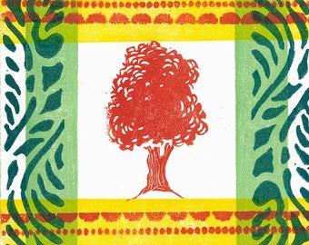 "LINO PRINT - Red Tree 1 One of a Kind Print 6""x6"""
