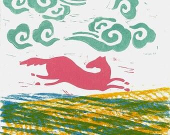 CHILDREN WALL ART - Running Horse 1 -  Monoprint - Woodblock Linocutf Print
