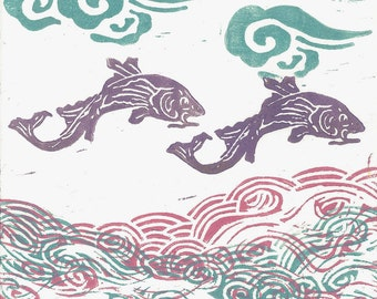"LINOLEUM BLOCK PRINT -  Purple Flying Fish -Children's Nursery Art Print 6""x6"""