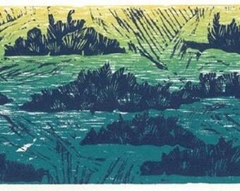 Woodcut and Linocut Print - JUNIPER FIELD - Landscape Relief Print 13x4