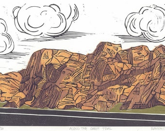 Lino Print - ALONG the CABOT TRAIL - Cape Breton Landscape Print 13x9 - Ready to Ship
