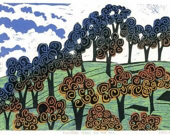Linocut Print - EIGHTEEN TREES on the HILL - Landscape Art 13x9 - Ready to Ship