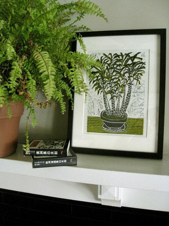 LINOCUT RELIEF PRINT - Taichung Houseplant - Tropical Decor