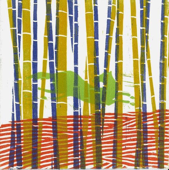 LINOCUT  PRINT -  Bamboo Horse 1 -  Monoprint