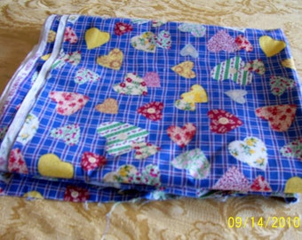 3 yards by 44 inch heart print fabric.