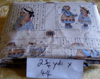 2 and three quarter yards of 44 inch wide Hollie hobie print material