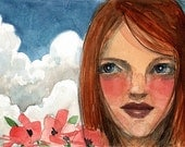 Girl Picking Flowers with Clouds Watercolor Painting Art Illustration Belinda DelPesco