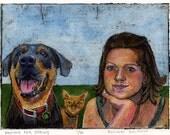Dog Cat Girl Waiting for Spring Original Collagraph Portrait Belinda DelPesco