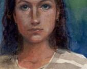 Original Watercolor Portr...