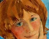 Original Watercolor Illustration Painting Art Girl Portrait Cat Ears Lets Make a Plan DelPesco