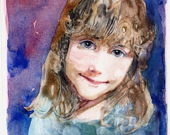 Framed Monotype Portrait Art Little Girl Gifts for Her Belinda DelPesco