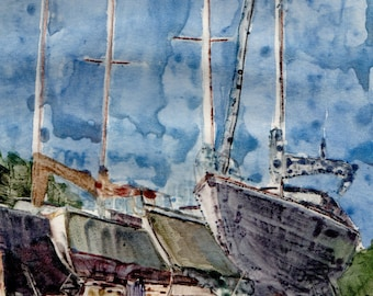 Nautical Art Sail Boats Beach Ocean Dry Dock original framed printmaking Belinda DelPesco