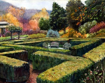 Watercolor Art Print California Landscape Garden Hedge Maze DelPesco