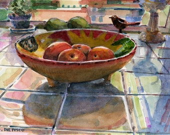 Kitchen Cooking Bowl of Peaches Fruit Still Life Watercolor Painting Print Art Belinda DelPesco