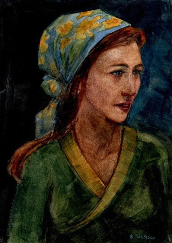 Original Watercolor Katia Wondered Figure Painting DelPesco