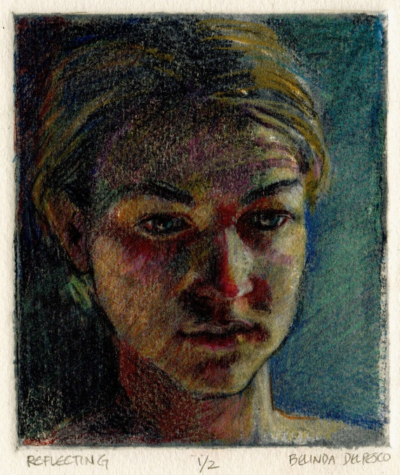 Original Aquatint Art with Colored Pencil Intagio Print Young Woman's Face Reflecting Portrait