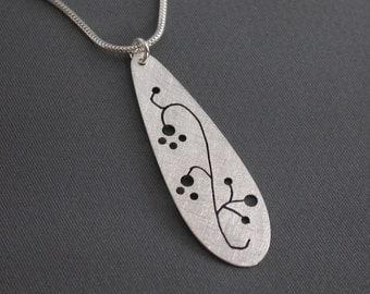 SMaddock Sterling Silver Tree Series Teardrop Pendant Necklace