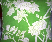 Lime Green and White Floral Pillow