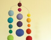 Felted Wool Mobile - Eco Friendly Baby - Natural Wool - Baby Mobile - Baby Nursery - Rainbow Mini