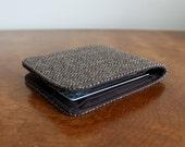 Last One Mens 5 Pocket Billfold Wallet in Brown Herringbone Wool