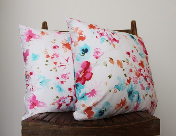 """Two 16"""" Fabric Pillow Covers in Water Color Flowers White Cotton"""