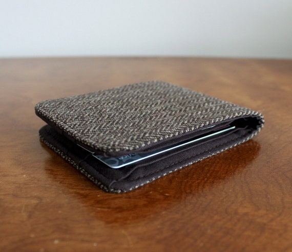 Last One Mens 5 Pocket Billfold Wallet in Brown Herringbone Wool