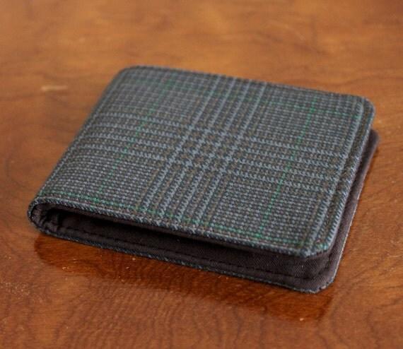 Men's Slimline Vegan Wallet Plaid Suit 5 Pocket Billfold