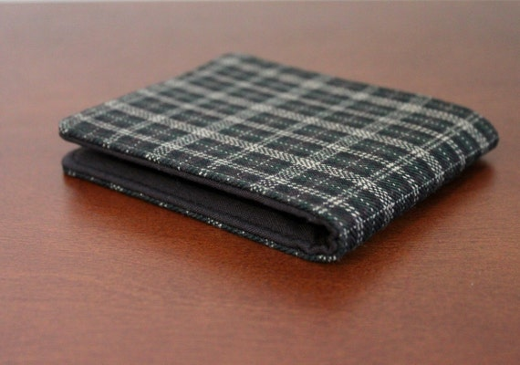 Men's Wallet Brown Flannel Plaid 5 Pocket Billfold