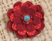 brick-red felt and polka-dot vintage fabric flower brooch