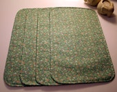 Reversible Placemats - Not Just a Pretty Face - 4 x handmade - greens, pink, mauve, white.