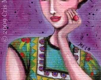 Original Painting Frida Kahlo aceo purple woman happy portrait meloearth girl mexico artist art handmade fashion