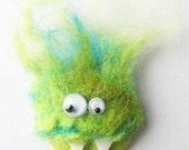 Green felt pinback monster brooch