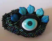 Crawling Eye Blue Green Beaded Barrette